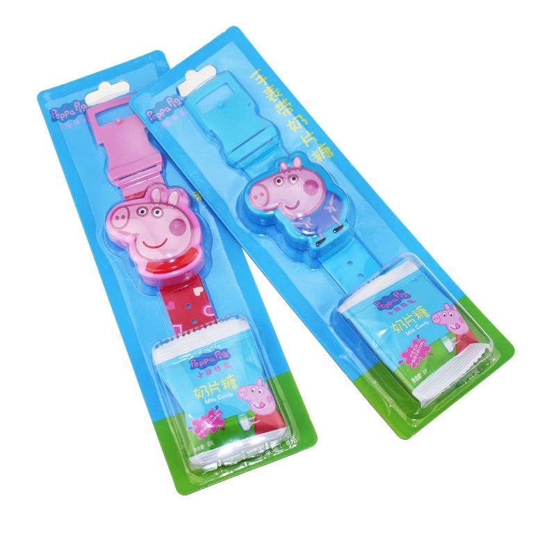 小猪佩奇手表带奶片糖2支卡通造型手表儿童糖果玩具休闲零食(5个起发货)