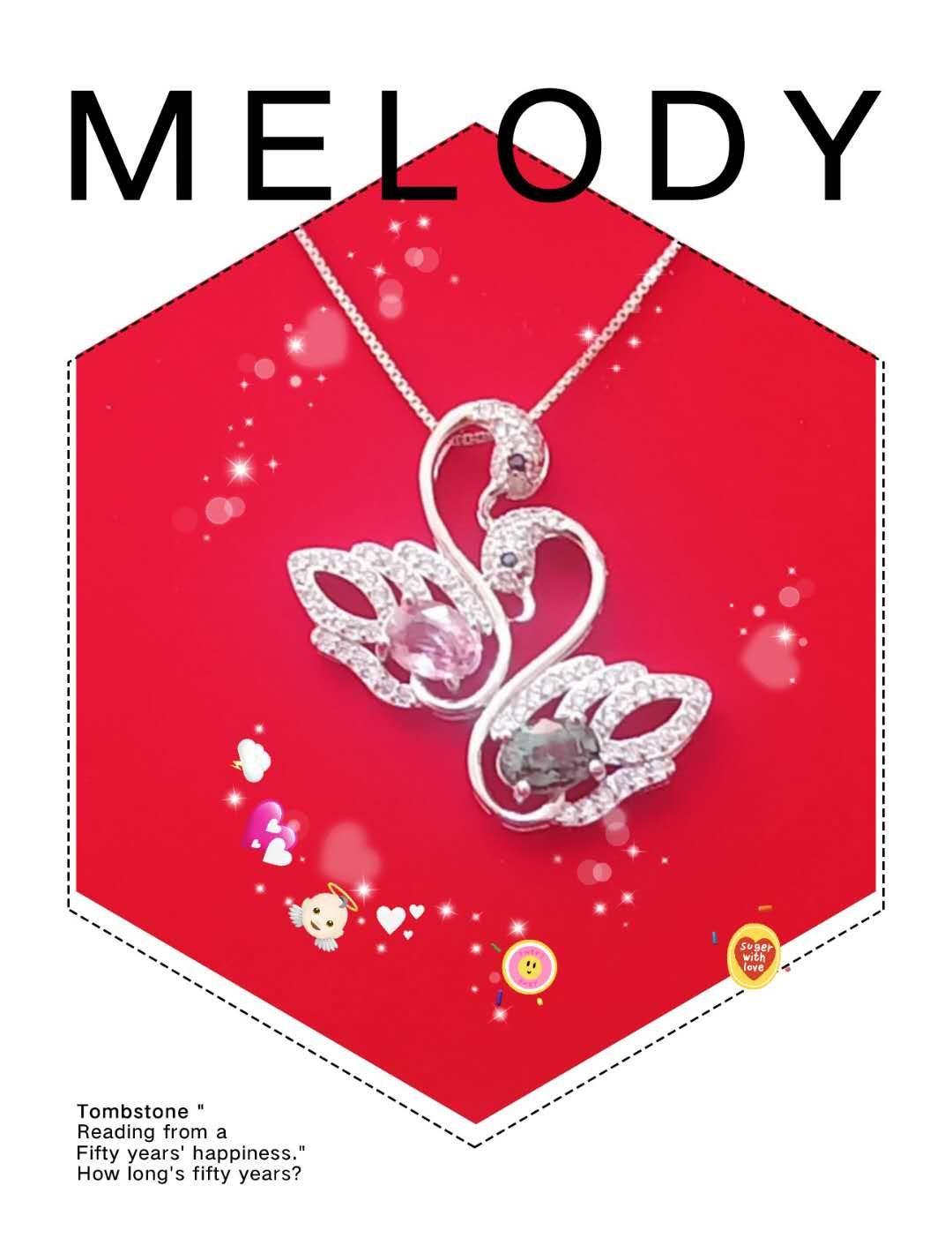 925纯银双天鹅宝石项链