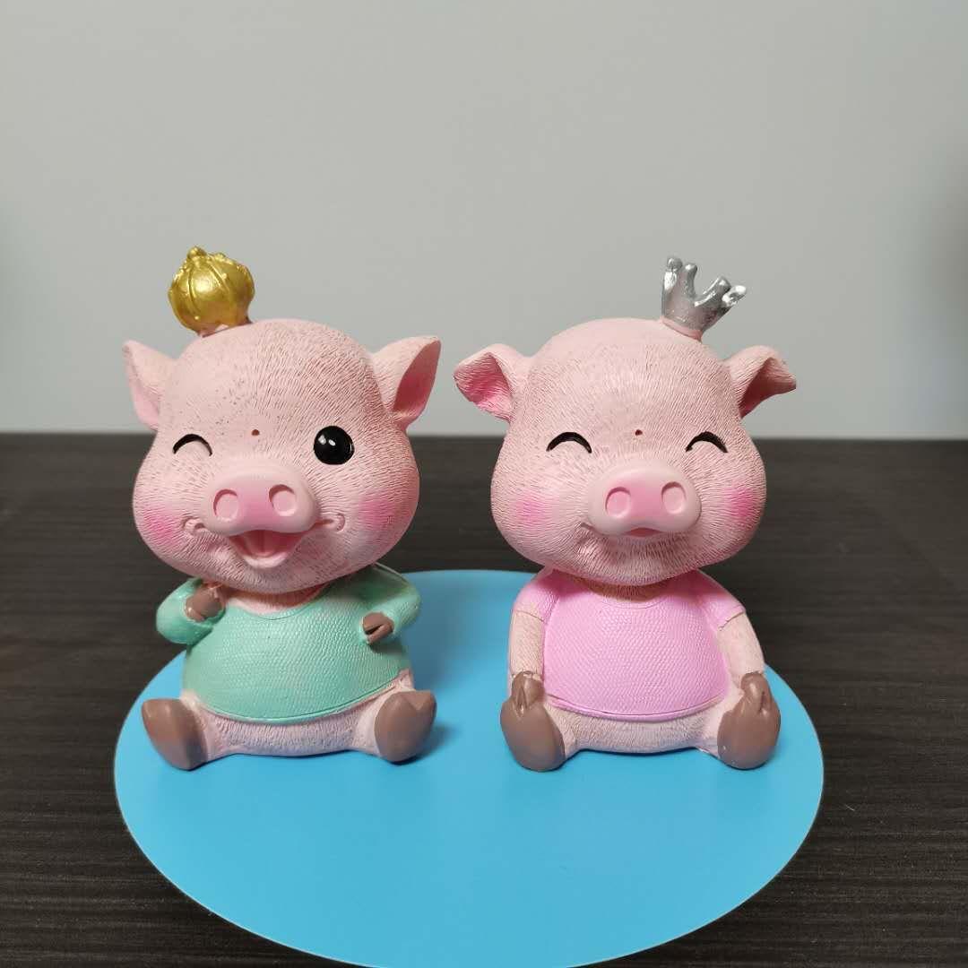 树脂手工彩绘卡通小猪工艺品摆件