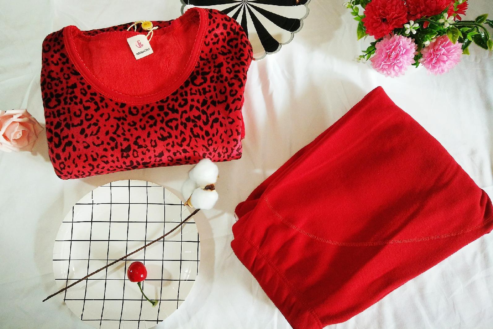 芬腾大红色豹纹保暖内衣