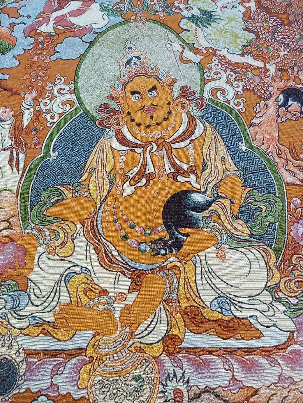 尼泊尔开光回流/五彩刺绣/盛装黄财神/90*60厘米/办公室必备。