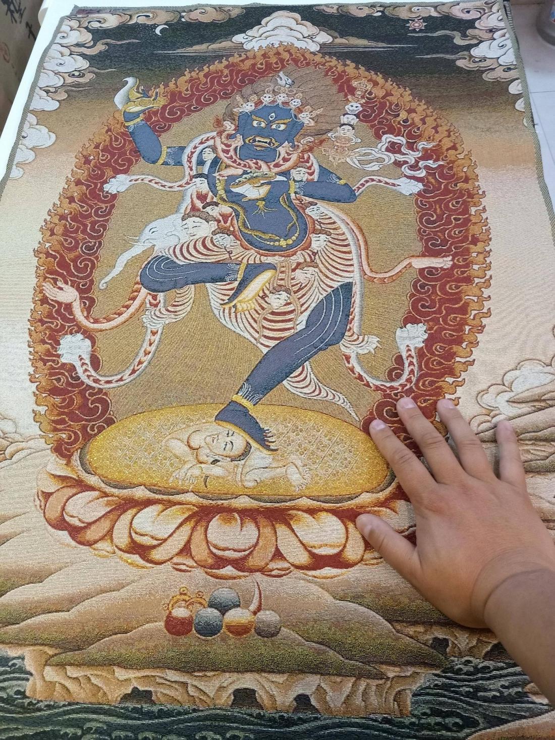 开光尼泊尔回流刺绣重金/翡黄红金/双臂嘎嘛哈 巨幅90*60厘米